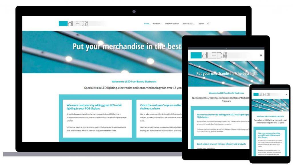 dLED responsive Website - Abbildung der Startseite auf Desktop, Tablet und Laptop