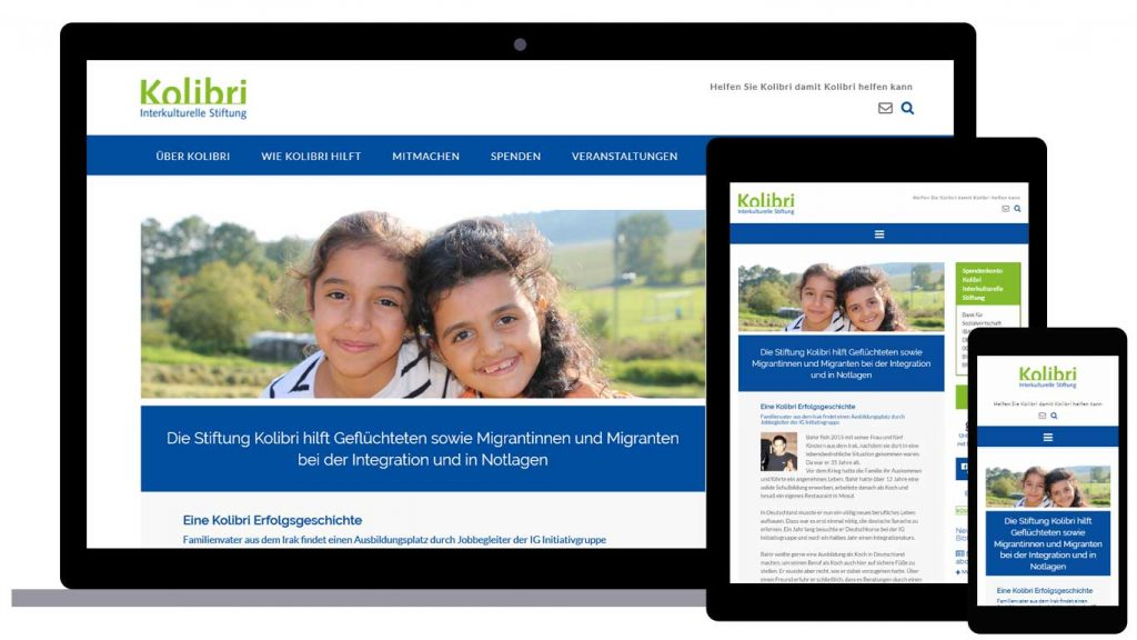 Kolibri Stiftung Responsive Website - Abbildung der Startseite auf Desktop, Tablet und Laptop
